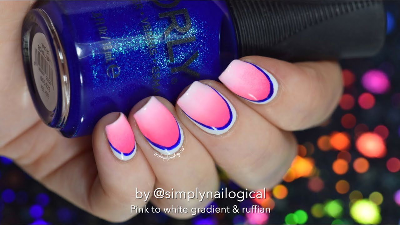 Pink to white gradient with ruffian border nail art thumbnail