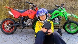 New Dirt Cross Bike is BROKEN! HELP DAD! Baby Ride on Power Wheel Pocket Bike Magic