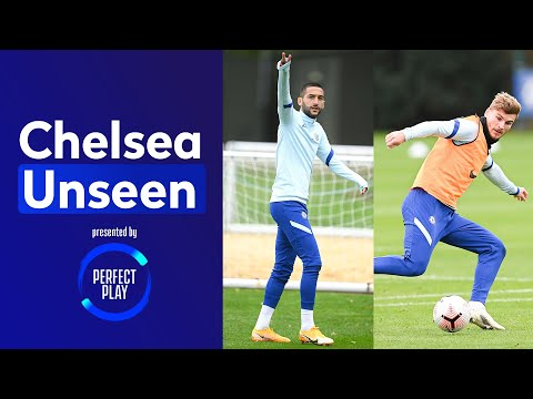Hakim Ziyech On 🔥 In Shooting Drill & Timo Werner Nutmegs Kai Havertz In The Rondo | Chelsea Unseen