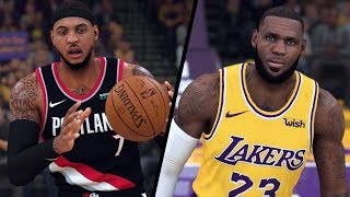 NBA 2K20 - Portland Trail Blazers (MELO!) vs. Los Angeles Lakers - Full Gameplay (Updated Rosters)