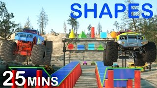 Learn 2D and 3D Shapes And Race Monster Trucks - TOYS (FULL CARTOON) | Videos For Children
