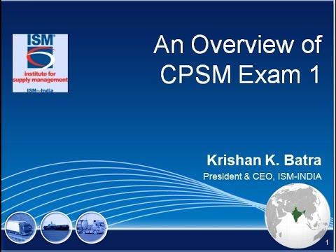ISM CPSM Exam-1 Webinar - YouTube