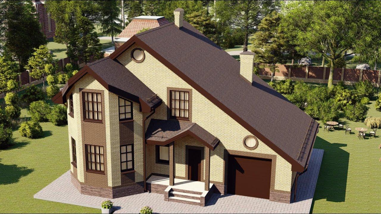 Современный двухэтажный дом с эркером и гаражом
