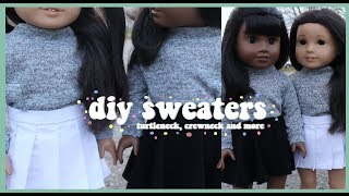 DIY COZY SWEATERS FOR AMERICAN GIRL DOLL! | TURTLENECK AND MORE!