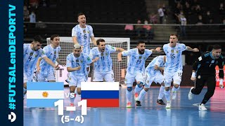 Argentina 1-1 (5-4) Rusia - RESUMEN - Mundial de Futsal - Cuartos de final - Lituania 2021