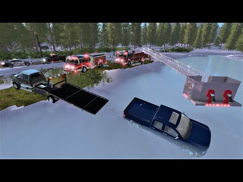 Farming Simulator 17 #26 Frozen Lake Ice Rescue - Fire Department Rescues Trapped Victim