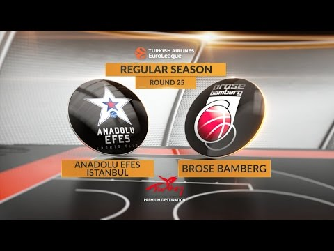 EuroLeague Highlights RS Round 25: Anadolu Efes Istanbul 68-87 Brose Bamberg