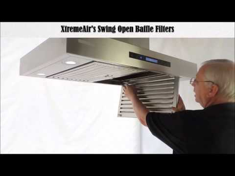"Xtreme Air 48/"" European Style Island Mount Range Hood with Baffle Filter 1600CFM"