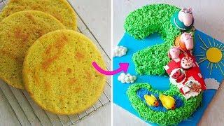 Number 3 Peppa Pig Birthday Cake   Round cake to Number Cake