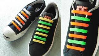 〔靴紐の結び方〕結び目がなくシンプルな靴ひもの通し方(2色バージョン)バイカラー結び How To Tie Shoelaces  〔生活に役立つ!〕