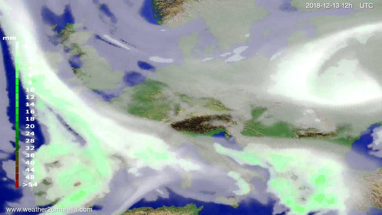 Precipitation forecast Europe 2018-12-09