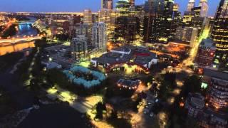 4K Drone Video Night Calgary DT