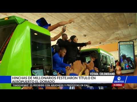 Euforico recibimiento de hinchas a Millonarios en El Dorado