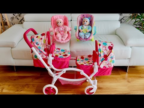 Baby Born Baby Annabell Dolls Pram Stroller Twin Jogger Nursery Toys Baby Dolls Go for Walks