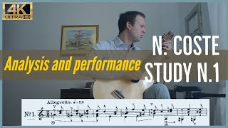 Napoleon Coste, study n. 1 op. 38. Analysis and Performance.