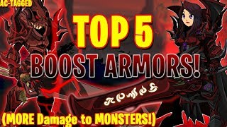 AQW - TOP 5 ARMORS That Do MORE Damage To MONSTERS! (AC-TAGGED) +  ITEM Showcase!