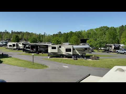 Video overlooking the 100 sites from the roof of our fifth wheel on site 106.