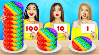 100 LAYERS FOOD CHALLENGE || Funny Food Wars For 24 Hours by RATATA  COOL