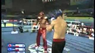 100904Kickboxing Men's 81 kg Bronze medal fight , Niziolek (POL) vs. Hromek (SVK)