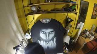 AIRBRUSH - SPEED PAINTING OF FREDDY MERCURY T-SHIRT / Polera Aerografíada de Freddy Mercury