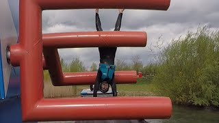 Guy Struggles To Get Through Obstacle Course Over Water