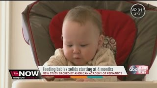 STUDY: Ok to feed babies solids starting at 4 months