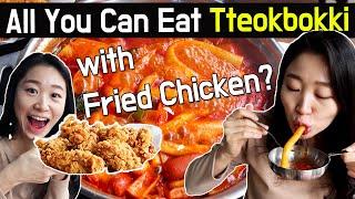 All You Can Eat Tteokbokki Rice Cake & Korean Fried Chicken Buffet in South Korea