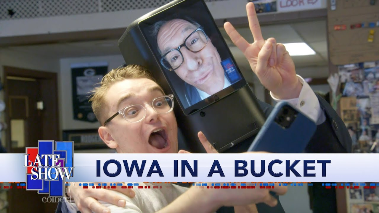 Ask-O-Matic Technology Allows Stephen Colbert To Visit Iowa Voters Without Leaving His Couch thumbnail