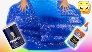 How To Make Slime with Glue, Water and Salt only! GIANT slime without borax