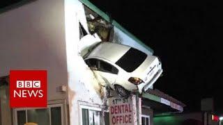 Dashcam captures a Car crashes into building in California - BBC News