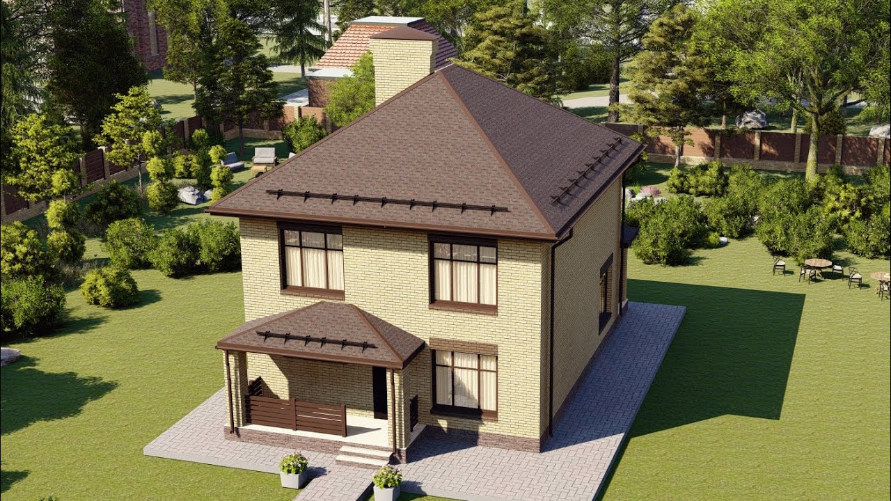 Проект красивого загородного дома 2 этажа 8х10 128 м2