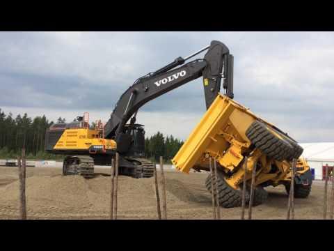 Stunt driving a six-wheel articulated dump truck