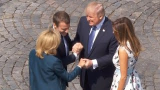 Trump's never-ending handshake with Macron