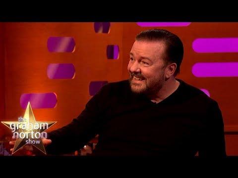 Ricky Gervais o spolupráci s Davidem Bowiem a Patrickem Stewartem