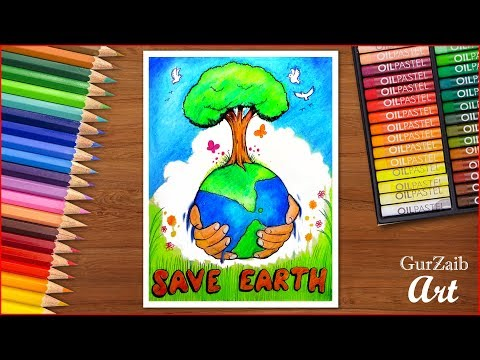 how to draw save earth poster chart drawing for school students very easy step