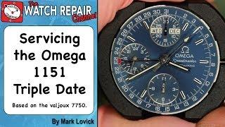 Service Omega Speedmaster 1151 Triple Date reconfiguration. Valjoux 7750. Watch repair tutorials