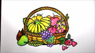 how to draw a fruit basket with oil pastels