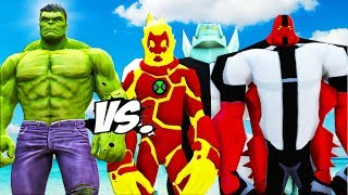 The Hulk vs Diamondhead, Heatblast, Four Arms - Ben 10 VS Hulk