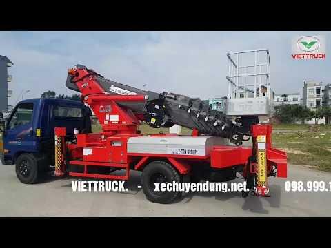Xe thang nâng người 20m (20 mét) isuzu 2,5 tấn QKR77FE4 cần thủy lực atom200