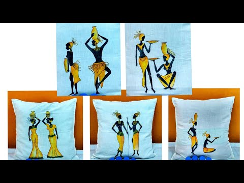 African women painting on cushion covers