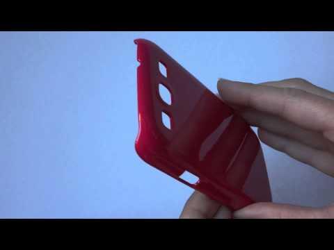 Schutzhülle magenta am Samsung Galaxy S3 anbringen