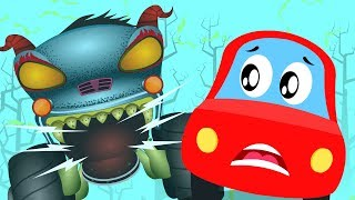 Monster Island | Little Red Car| HHMT | Haunted House monster truck | Video for children