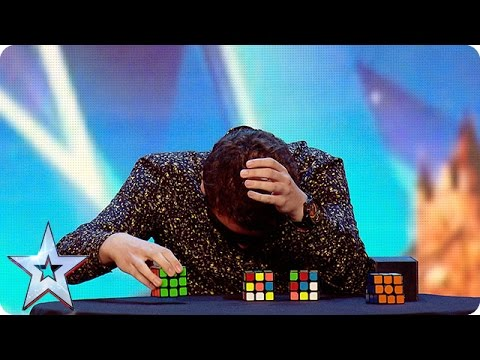 Watch Flavian solve three Rubik's Cubes…BLINDFOLDED!  | Britain's Got More Talent 2016 (видео)