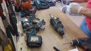 How to disassemble and repair Makita BHR202 DHR202 cordless rotary hammer drill 18V