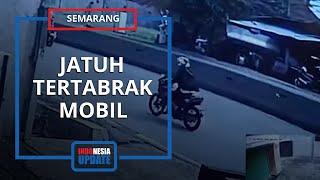 Video Detik-detik Kecelakaan di Semarang, Pengendara Motor Jatuh dan Tertabrak Mobil di Belakangnya