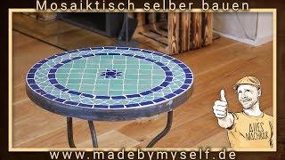 Mosaiktisch Tisch aus Mosaik selber machen bauen Beistelltisch Wohnzimmertisch Gartentisch