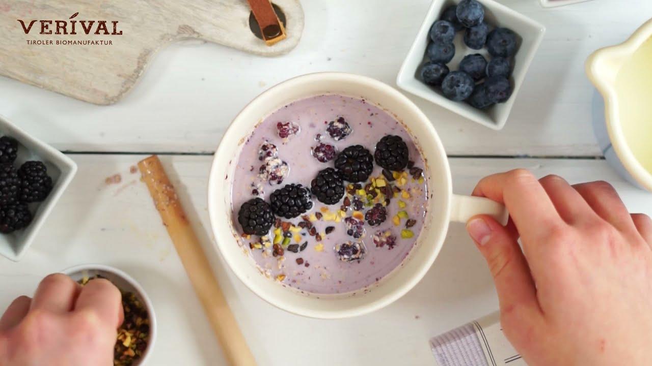 Porridge Zubereitung in nur 3 Minuten - Verival Brombeer Porridge