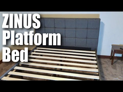 Zinus Dark Grey Upholstered Square Stitched Platform Bed with Wooden Slats review