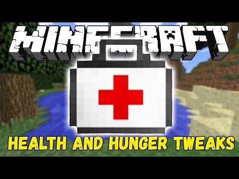 Обзор модов minecraft #5! АПТЕЧКА! (HEALTH A HUNGER TWEAKS)