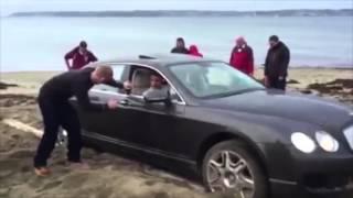 Россиянин на Bentley застрял в песке на британском пляже